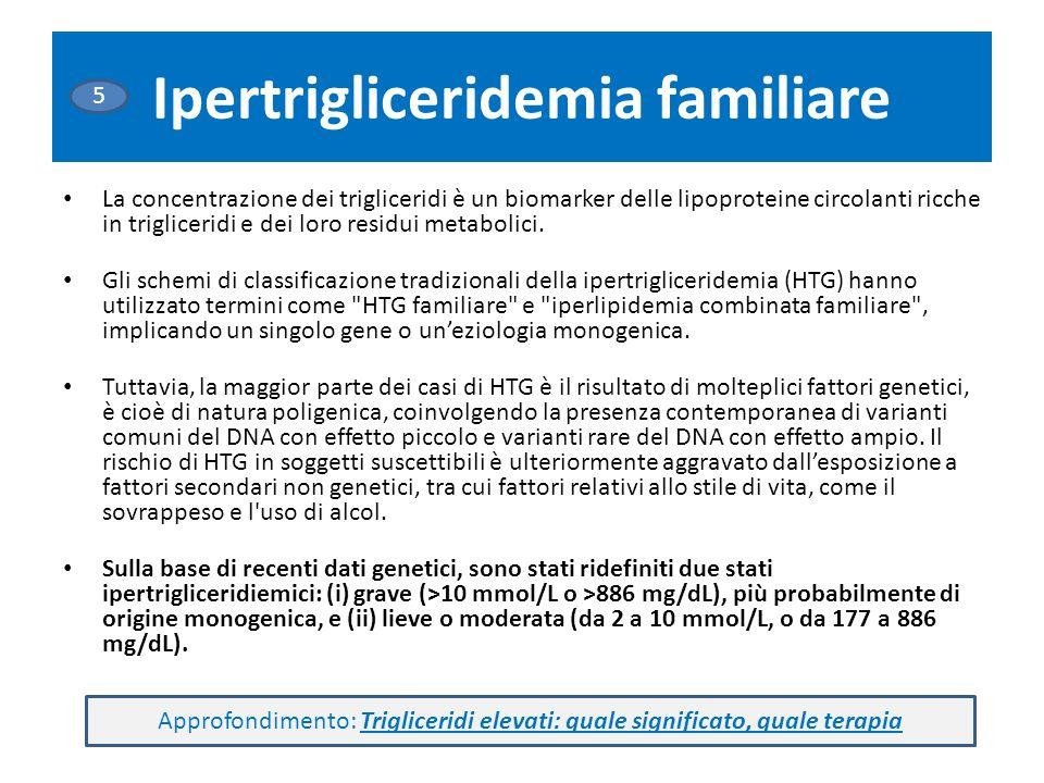 Ipertrigliceridemia familiare La concentrazione dei trigliceridi è un biomarker delle lipoproteine circolanti ricche in trigliceridi e dei loro residui metabolici.