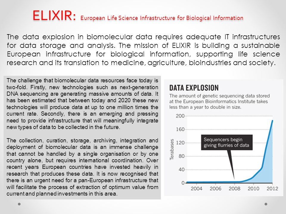 ELIXIR: European Life Science Infrastructure for Biological Information The data explosion in biomolecular data requires adequate IT infrastructures f