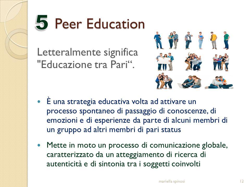 Peer Education È una strategia educativa volta ad attivare un processo spontaneo di passaggio di conoscenze, di emozioni e di esperienze da parte di a