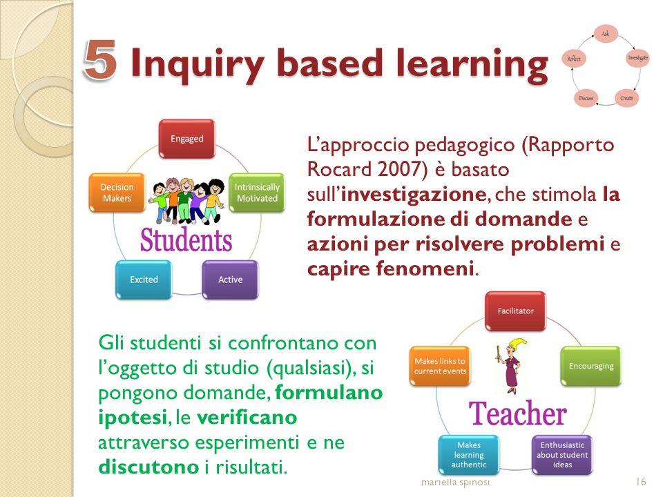 Inquiry based learning L'approccio pedagogico (Rapporto Rocard 2007) è basato sull'investigazione, che stimola la formulazione di domande e azioni per