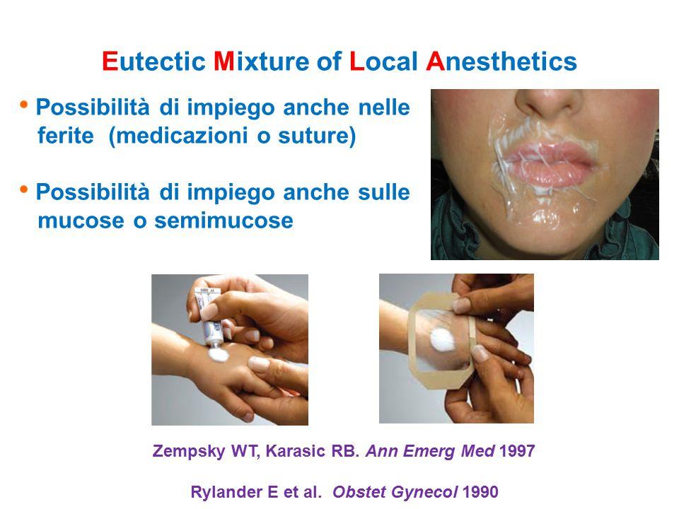 Possibilità di impiego anche nelle ferite (medicazioni o suture) Possibilità di impiego anche sulle mucose o semimucose Zempsky WT, Karasic RB. Ann Em