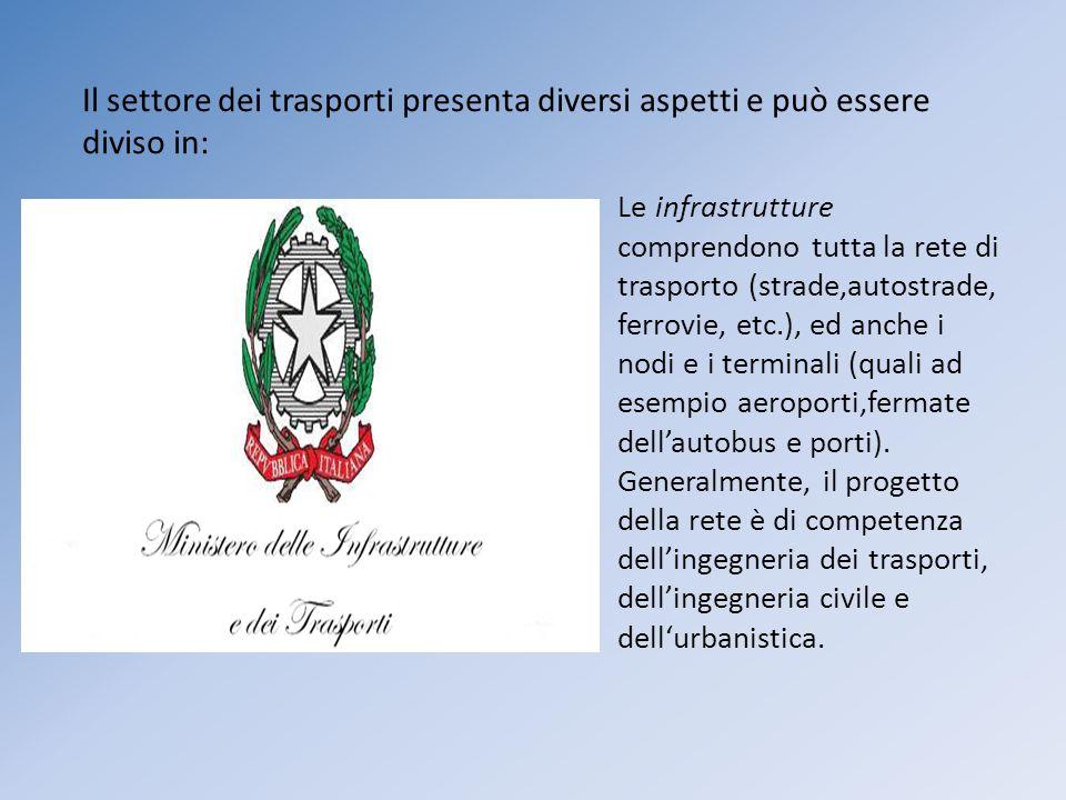Le infrastrutture comprendono tutta la rete di trasporto (strade,autostrade, ferrovie, etc.), ed anche i nodi e i terminali (quali ad esempio aeroport