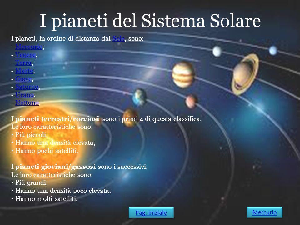 I pianeti del Sistema Solare I pianeti, in ordine di distanza dal Sole, sono:Sole - Mercurio;Mercurio - Venere;Venere - Terra;Terra - Marte;Marte - Gi