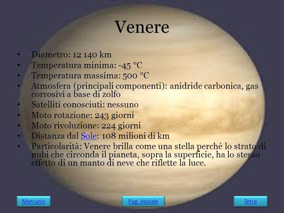 Diametro: 12 140 km Temperatura minima: -45 °C Temperatura massima: 500 °C Atmosfera (principali componenti): anidride carbonica, gas corrosivi a base