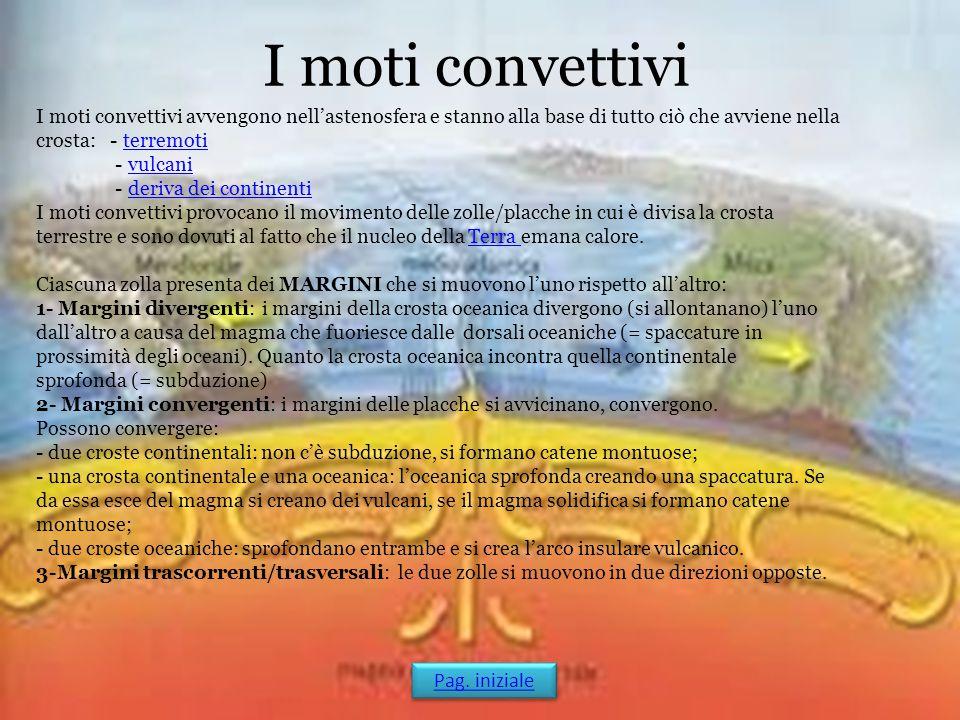 I moti convettivi I moti convettivi avvengono nell'astenosfera e stanno alla base di tutto ciò che avviene nella crosta: - terremotiterremoti - vulcan