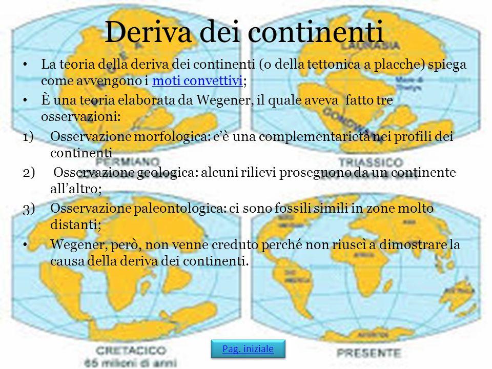 Deriva dei continenti La teoria della deriva dei continenti (o della tettonica a placche) spiega come avvengono i moti convettivi;moti convettivi È un