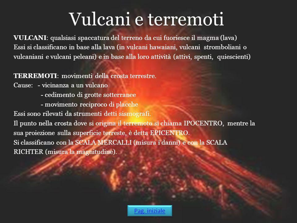 Vulcani e terremoti VULCANI: qualsiasi spaccatura del terreno da cui fuoriesce il magma (lava) Essi si classificano in base alla lava (in vulcani hawa