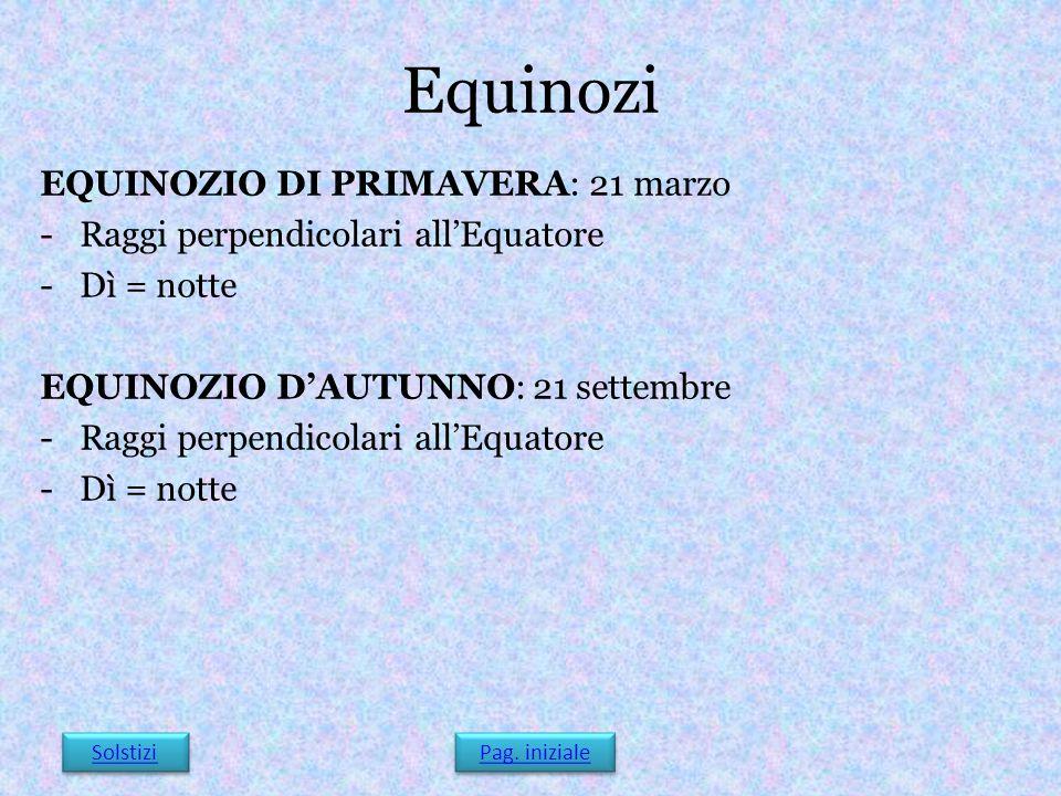 Equinozi EQUINOZIO DI PRIMAVERA: 21 marzo -Raggi perpendicolari all'Equatore -Dì = notte EQUINOZIO D'AUTUNNO: 21 settembre -Raggi perpendicolari all'E