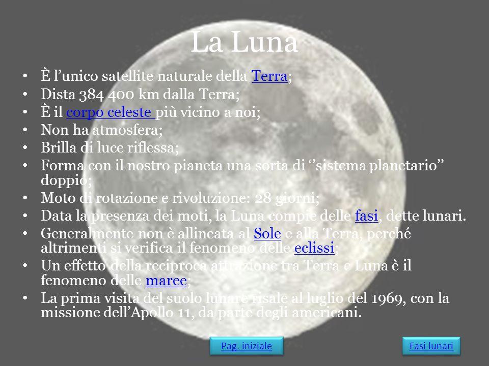 La Luna È l'unico satellite naturale della Terra;Terra Dista 384 400 km dalla Terra; È il corpo celeste più vicino a noi;corpo celeste Non ha atmosfer