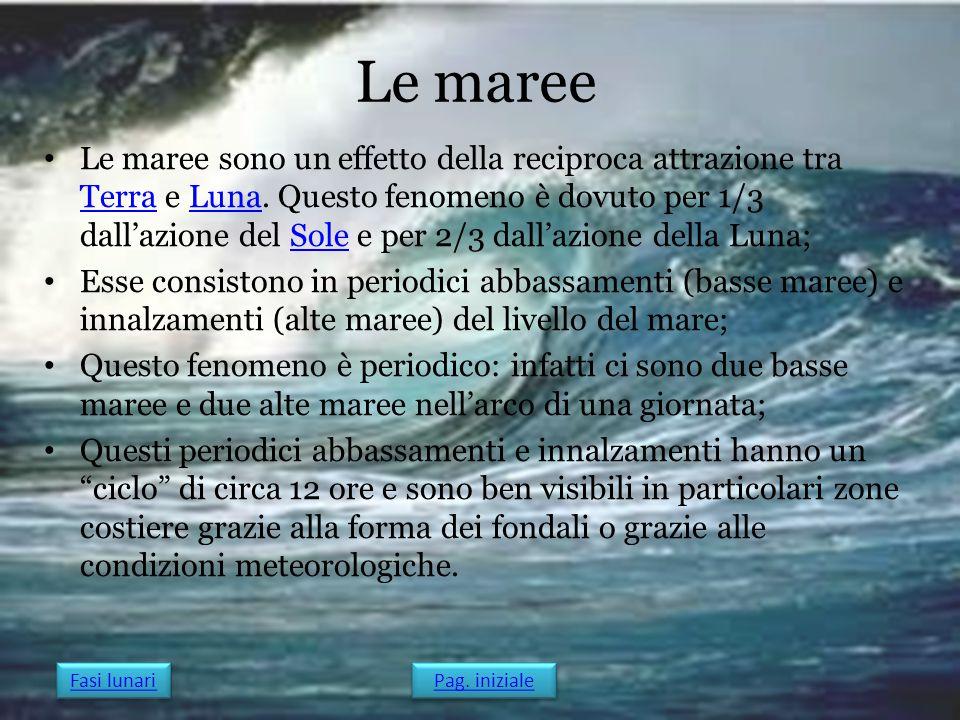 Le maree Le maree sono un effetto della reciproca attrazione tra Terra e Luna. Questo fenomeno è dovuto per 1/3 dall'azione del Sole e per 2/3 dall'az