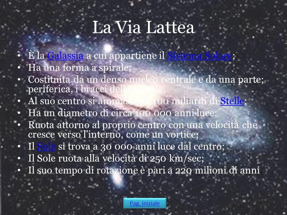 La Via Lattea È la Galassia a cui appartiene il Sistema Solare;GalassiaSistema Solare Ha una forma a spirale; Costituita da un denso nucleo centrale e