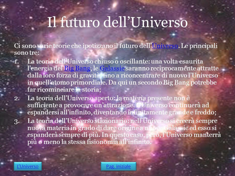 Il futuro dell'Universo Ci sono varie teorie che ipotizzano il futuro dell'Universo. Le principali sono tre:Universo 1.La teoria dell'Universo chiuso