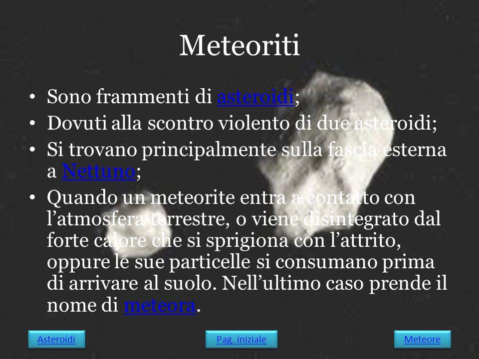 Meteoriti Sono frammenti di asteroidi;asteroidi Dovuti alla scontro violento di due asteroidi; Si trovano principalmente sulla fascia esterna a Nettun