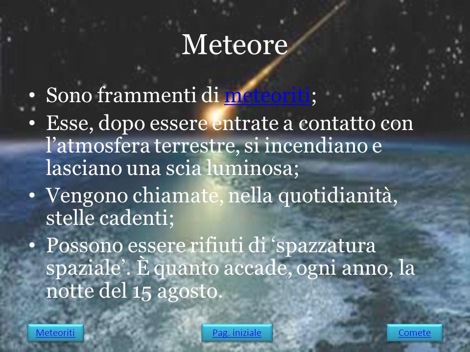 Meteore Sono frammenti di meteoriti;meteoriti Esse, dopo essere entrate a contatto con l'atmosfera terrestre, si incendiano e lasciano una scia lumino