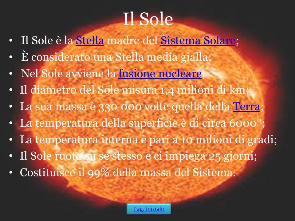 Il Sole Il Sole è la Stella madre del Sistema Solare;StellaSistema Solare È considerato una Stella media gialla; Nel Sole avviene la fusione nucleare;