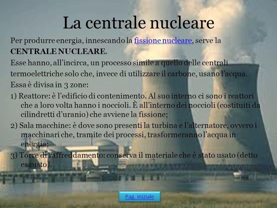 La centrale nucleare Per produrre energia, innescando la fissione nucleare, serve lafissione nucleare CENTRALE NUCLEARE. Esse hanno, all'incirca, un p