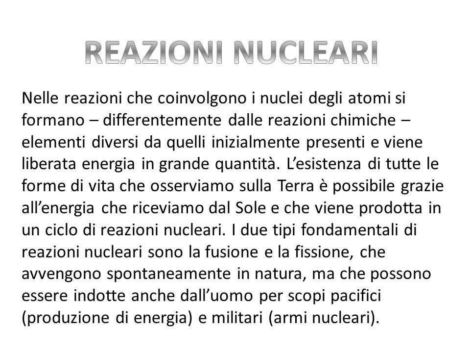 Nelle reazioni che coinvolgono i nuclei degli atomi si formano – differentemente dalle reazioni chimiche – elementi diversi da quelli inizialmente pre