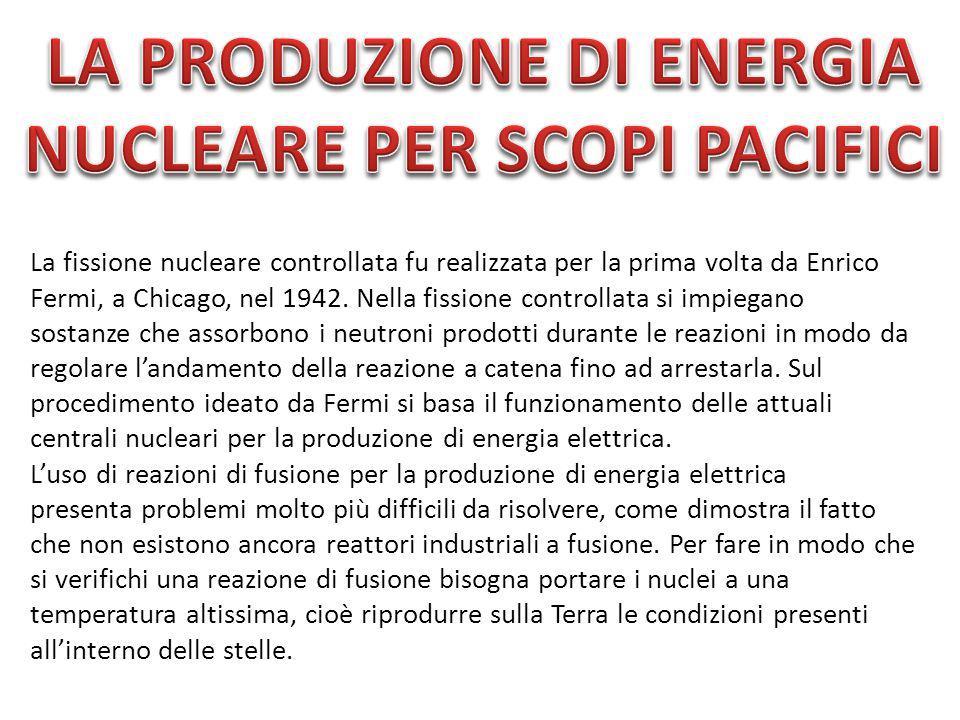 La fissione nucleare controllata fu realizzata per la prima volta da Enrico Fermi, a Chicago, nel 1942. Nella fissione controllata si impiegano sostan