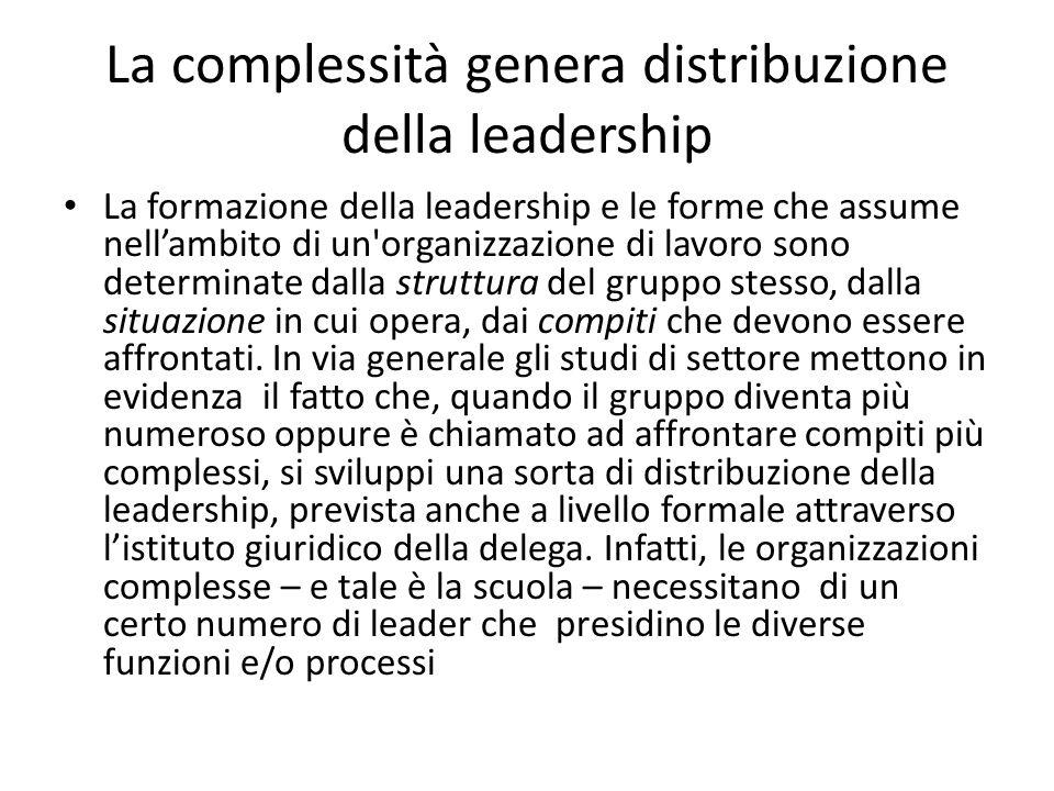 La complessità genera distribuzione della leadership La formazione della leadership e le forme che assume nell'ambito di un organizzazione di lavoro sono determinate dalla struttura del gruppo stesso, dalla situazione in cui opera, dai compiti che devono essere affrontati.