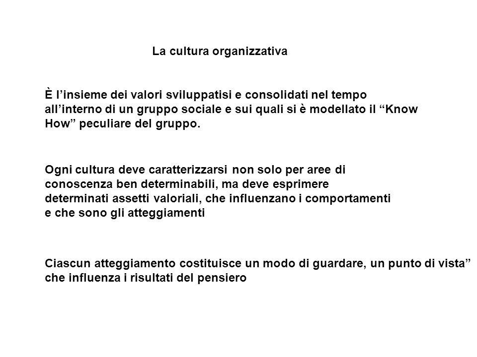 La cultura organizzativa È l'insieme dei valori sviluppatisi e consolidati nel tempo all'interno di un gruppo sociale e sui quali si è modellato il Know How peculiare del gruppo.