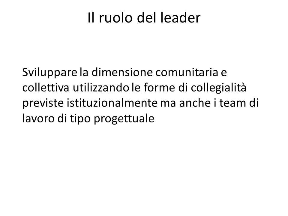Il ruolo del leader Sviluppare la dimensione comunitaria e collettiva utilizzando le forme di collegialità previste istituzionalmente ma anche i team di lavoro di tipo progettuale