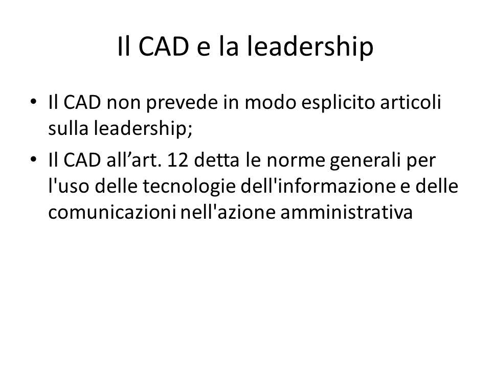 Il CAD e la leadership Il CAD non prevede in modo esplicito articoli sulla leadership; Il CAD all'art.