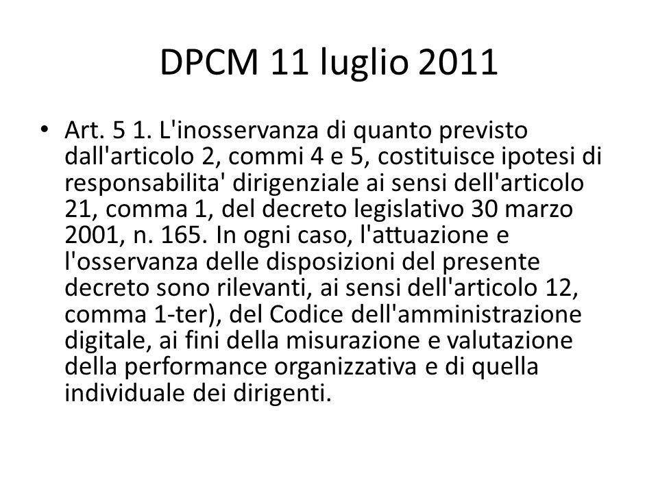 DPCM 11 luglio 2011 Art.5 1.