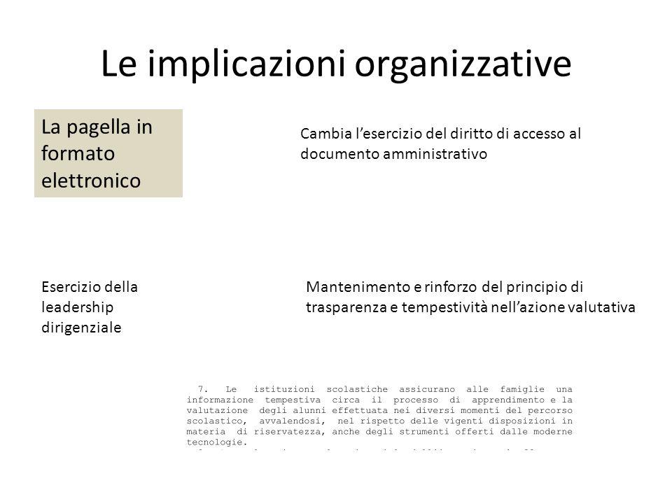 Le implicazioni organizzative La pagella in formato elettronico Cambia l'esercizio del diritto di accesso al documento amministrativo Esercizio della leadership dirigenziale Mantenimento e rinforzo del principio di trasparenza e tempestività nell'azione valutativa