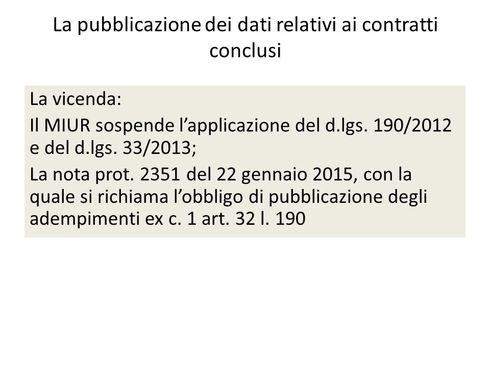 La pubblicazione dei dati relativi ai contratti conclusi La vicenda: Il MIUR sospende l'applicazione del d.lgs.