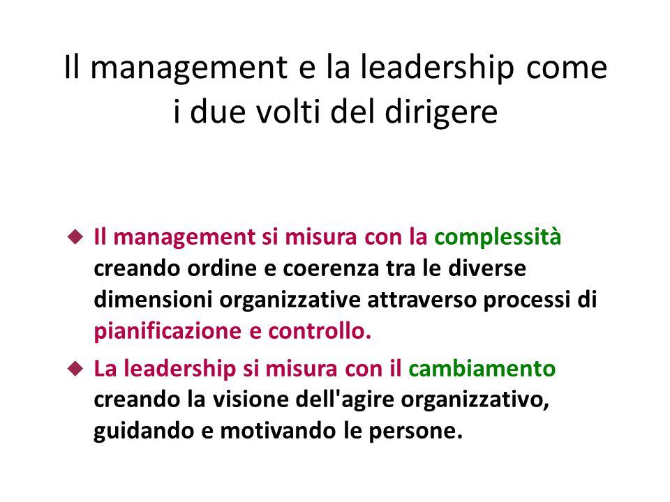 Il management e la leadership come i due volti del dirigere  Il management si misura con la complessità creando ordine e coerenza tra le diverse dimensioni organizzative attraverso processi di pianificazione e controllo.