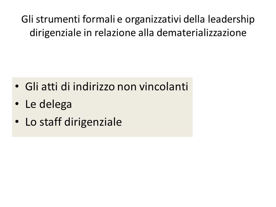 Gli strumenti formali e organizzativi della leadership dirigenziale in relazione alla dematerializzazione Gli atti di indirizzo non vincolanti Le delega Lo staff dirigenziale