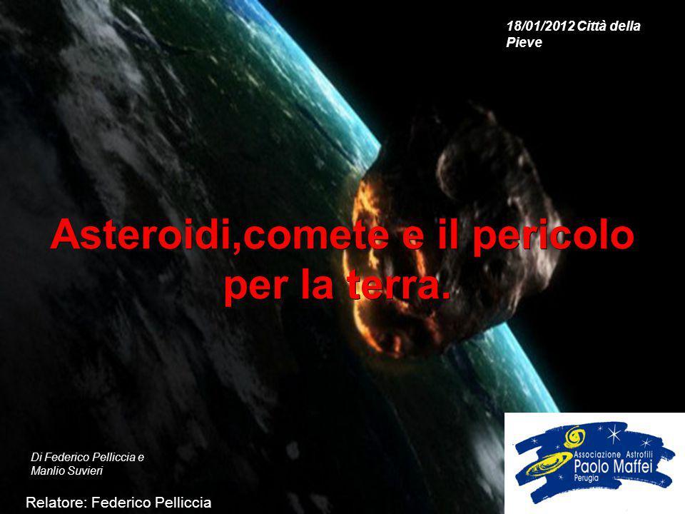 Asteroidi,comete e il pericolo per la terra. Asteroidi,comete e il pericolo per la terra. Relatore: Federico Pelliccia Di Federico Pelliccia e Manlio