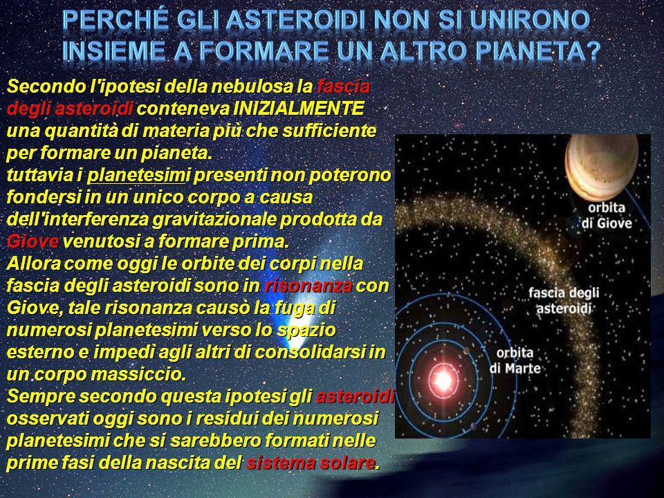Secondo l'ipotesi della nebulosa la fascia degli asteroidi conteneva INIZIALMENTE una quantità di materia più che sufficiente per formare un pianeta.