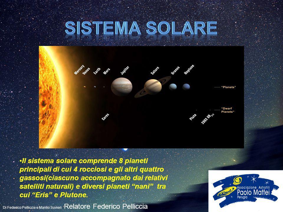 Di Federico Pelliccia e Manlio Suvieri Relatore Federico Pelliccia Il sistema solare comprende 8 pianeti principali di cui 4 rocciosi e gli altri quat