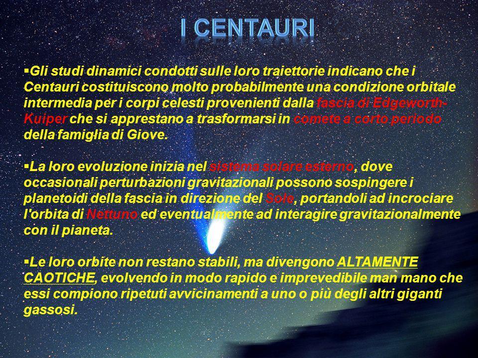  Gli studi dinamici condotti sulle loro traiettorie indicano che i Centauri costituiscono molto probabilmente una condizione orbitale intermedia per