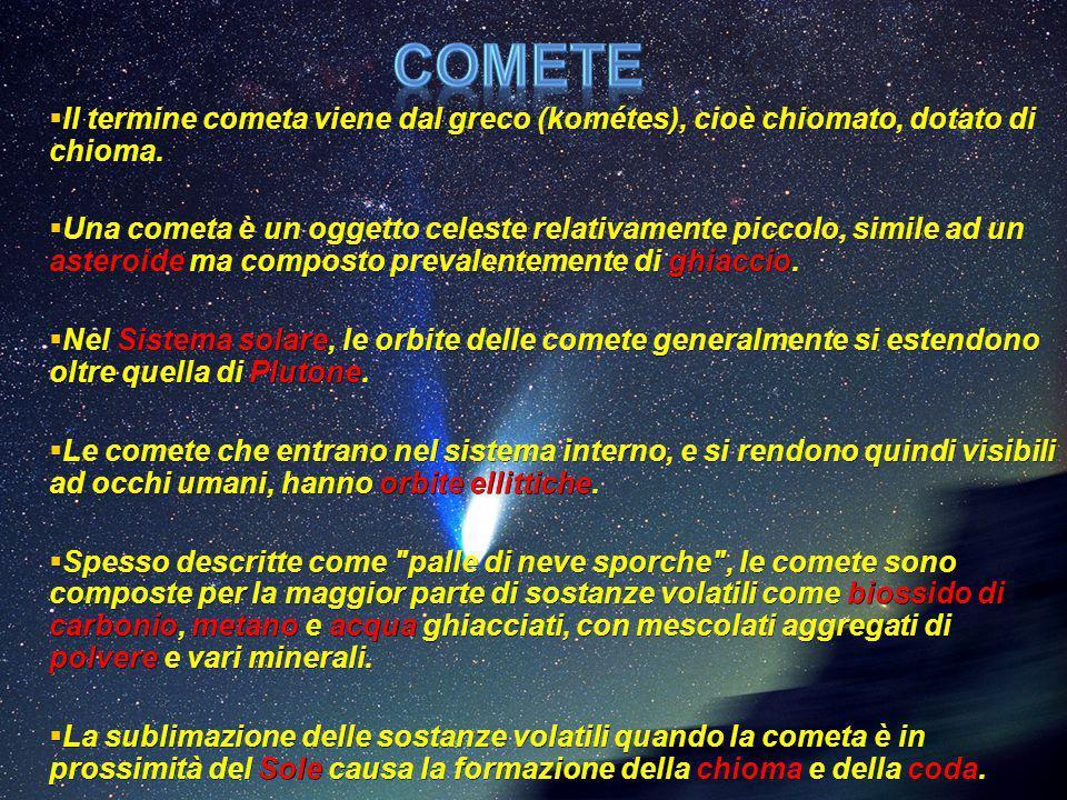  Il termine cometa viene dal greco (kométes), cioè chiomato, dotato di chioma.  Una cometa è un oggetto celeste relativamente piccolo, simile ad un
