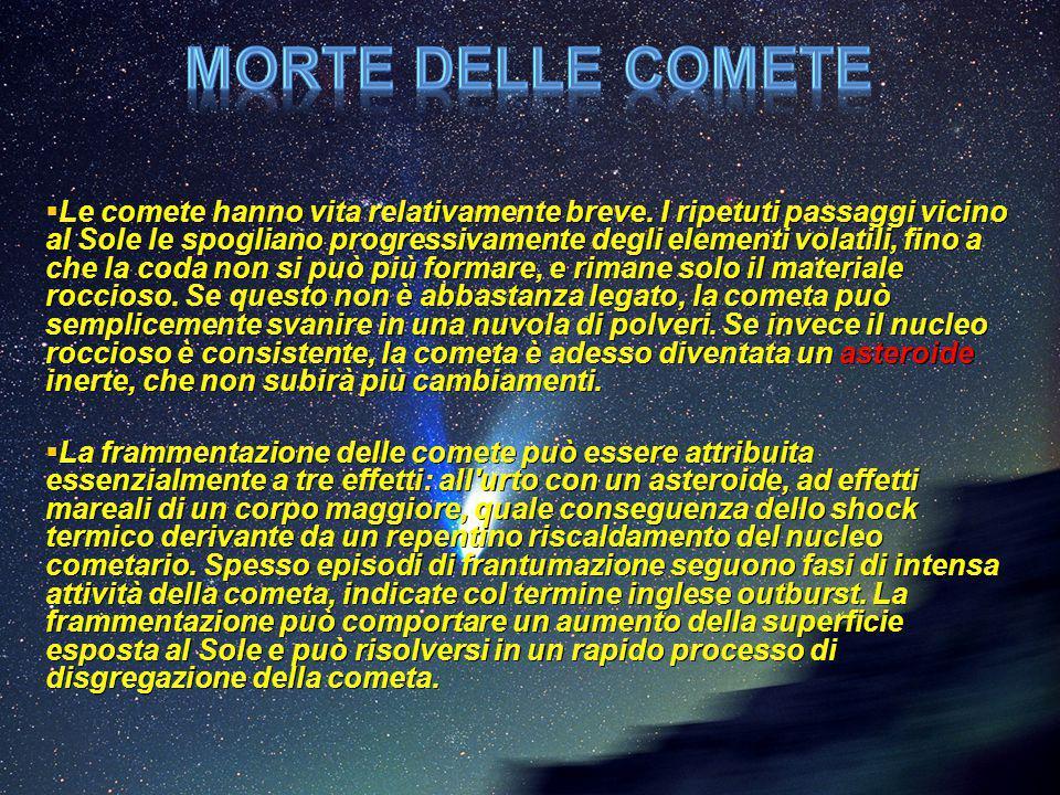  Le comete hanno vita relativamente breve. I ripetuti passaggi vicino al Sole le spogliano progressivamente degli elementi volatili, fino a che la co