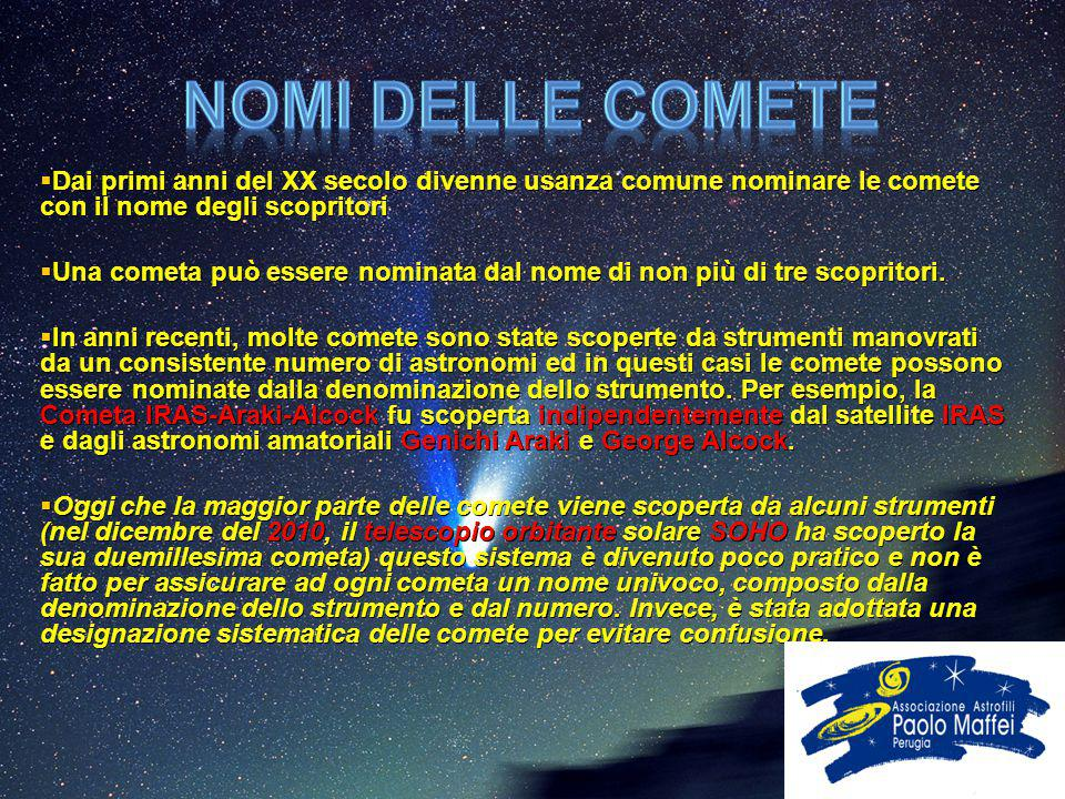  Dai primi anni del XX secolo divenne usanza comune nominare le comete con il nome degli scopritori  Una cometa può essere nominata dal nome di non
