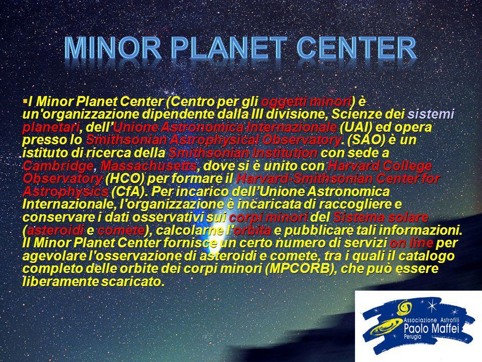  l Minor Planet Center (Centro per gli oggetti minori) è un'organizzazione dipendente dalla III divisione, Scienze dei sistemi planetari, dell'Unione