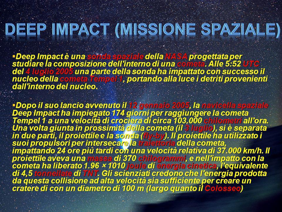  Deep Impact è una sonda spaziale della NASA progettata per studiare la composizione dell'interno di una cometa. Alle 5:52 UTC del 4 luglio 2005 una