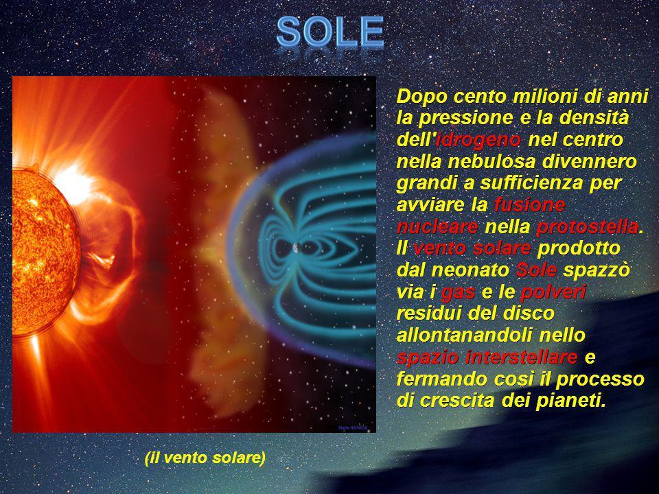 D Dopo cento milioni di anni la pressione e la densità dell'idrogeno nel centro nella nebulosa divennero grandi a sufficienza per avviare la fusione n