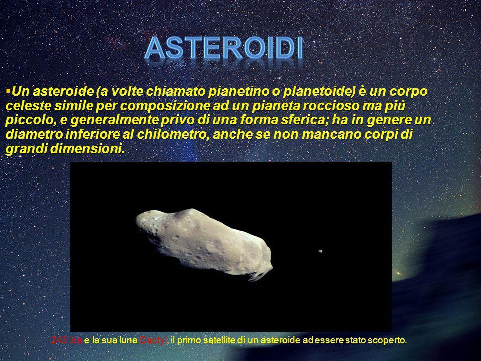  Un asteroide (a volte chiamato pianetino o planetoide) è un corpo celeste simile per composizione ad un pianeta roccioso ma più piccolo, e generalme