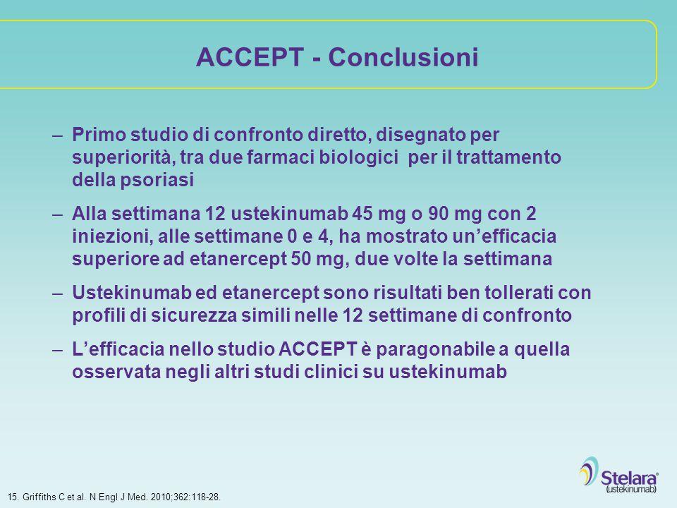 ACCEPT - Conclusioni –Primo studio di confronto diretto, disegnato per superiorità, tra due farmaci biologici per il trattamento della psoriasi –Alla