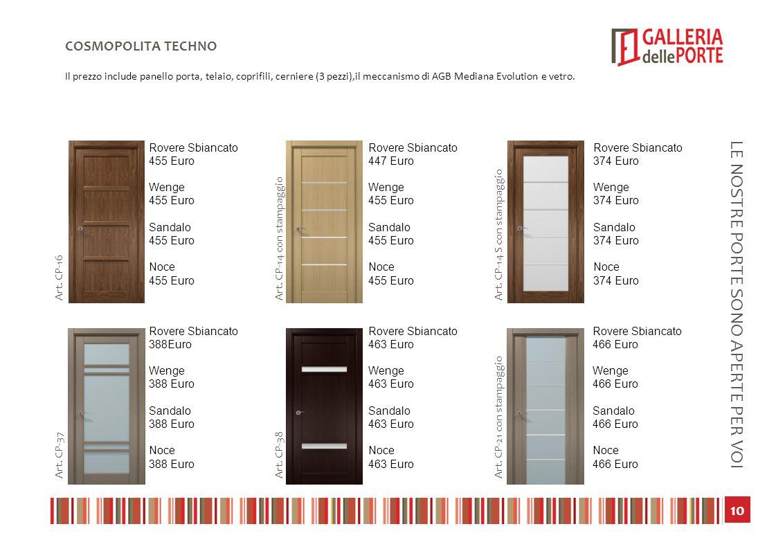 11 LE NOSTRE PORTE SONO APERTE PER VOI COSMOPOLITA TECHNO Il prezzo include panello porta, telaio, coprifili, cerniere (3 pezzi),il meccanismo di AGB Mediana Evolution e vetro.