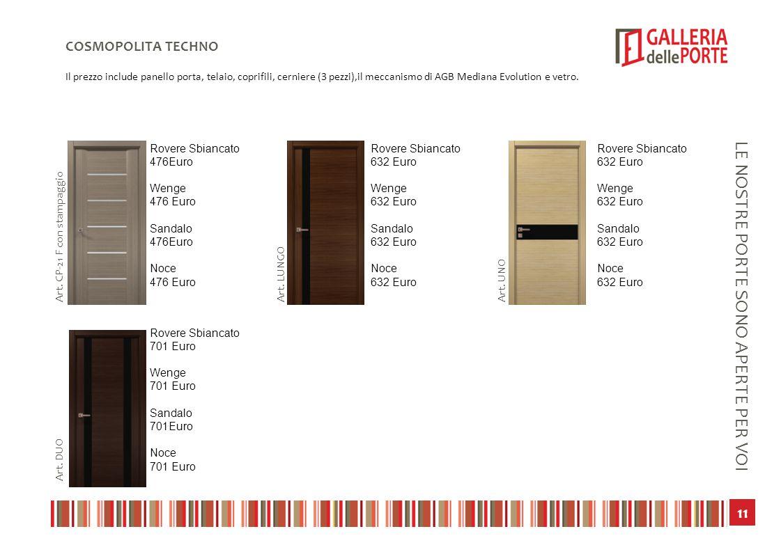12 LE NOSTRE PORTE SONO APERTE PER VOI COSMOPOLITA CLASSICS Il prezzo include panello porta, telaio, coprifili, cerniere (3 pezzi),il meccanismo di AGB Mediana Evolution e vetro.
