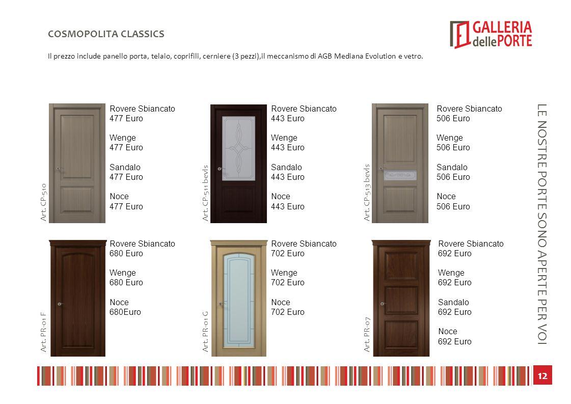 13 LE NOSTRE PORTE SONO APERTE PER VOI COSMOPOLITA CLASSICS Il prezzo include panello porta, telaio, coprifili, cerniere (3 pezzi),il meccanismo di AGB Mediana Evolution e vetro.