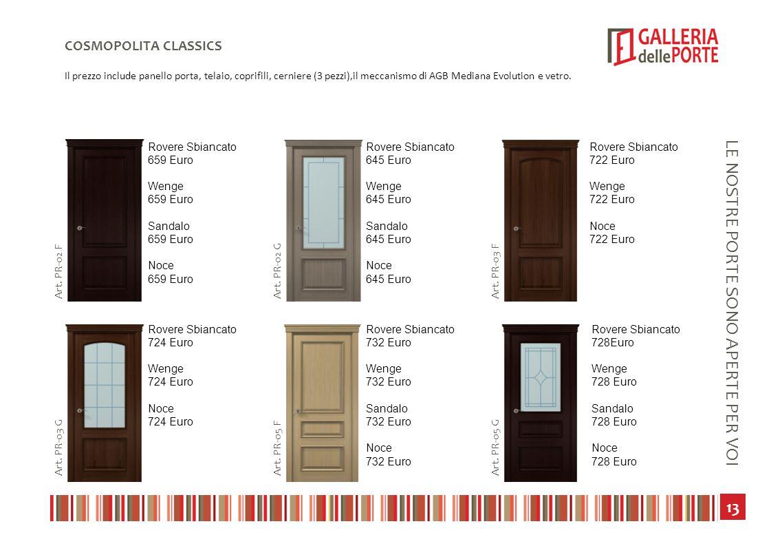 14 LE NOSTRE PORTE SONO APERTE PER VOI COSMOPOLITA CLASSICS Il prezzo include panello porta, telaio, coprifili, cerniere (3 pezzi),il meccanismo di AGB Mediana Evolution e vetro.