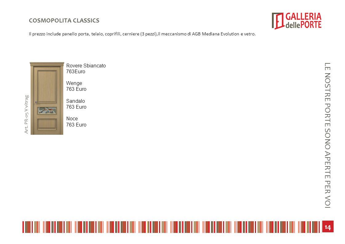15 LE NOSTRE PORTE SONO APERTE PER VOI SERIE BIANCA Il prezzo include panello porta, telaio, coprifili, cerniere (3 pezzi),il meccanismo di AGB Mediana Evolution e vetro.