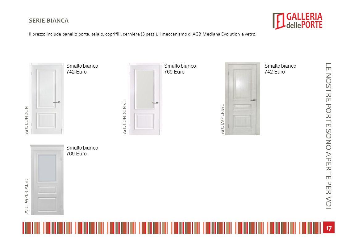 18 LE NOSTRE PORTE SONO APERTE PER VOI ECONOMIA TECHNO Il prezzo include panello porta, telaio, coprifili, cerniere (3 pezzi),il meccanismo di AGB Mediana Evolution e vetro.