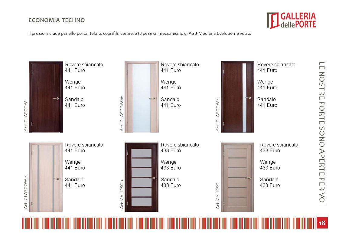 19 LE NOSTRE PORTE SONO APERTE PER VOI ECONOMIA TECHNO Il prezzo include panello porta, telaio, coprifili, cerniere (3 pezzi),il meccanismo di AGB Mediana Evolution e vetro.